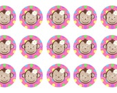 Polkadots Monkey Bottle Cap Images 4x6 Digital File