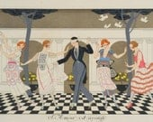 Art Deco Print Love is Blind --L'Amour est Aveugle in 3 SIZES of Party by Georges Barbier
