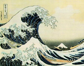 Print of Great Wave by famed Japanese artist.