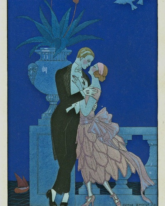Art Deco Painting Of Romance Print Of Couple In Embrace