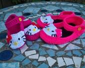 Adult, Children and Baby size Hello Kitty Crochet Ballerina slippers