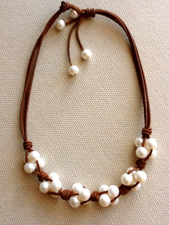 Items Similar To Leather And Freshwater Pearl Cluster