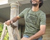 Men's hand printed t-shirt with armadillo- 100% cotton