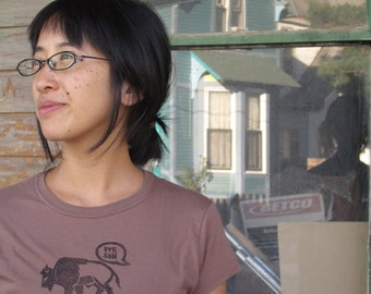 Bye Son:  Women's cotton t-shirt is hand printed with water based ink from a rubber block stamp.