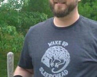 Men's hand-printed possum t-shirt on cotton/poly blend.