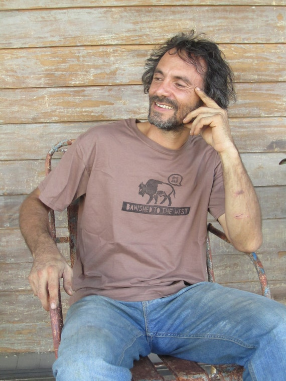 men's hand printed tshirt with bison - 100% cotton.