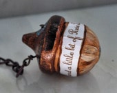 """Peter Pan and Wendy Kiss Acorn  Purse Fob """"All It Takes Is Trust And A LIttle Bit Of Pixie Dust"""""""