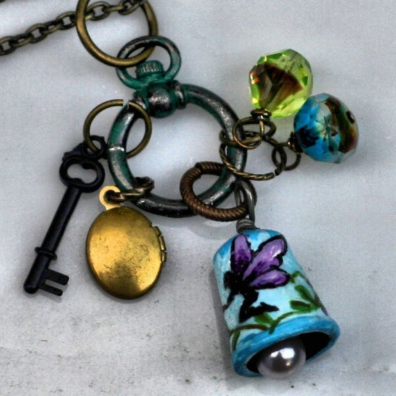 Thimble Necklace or Pendant charms with Hand Painted Fairy