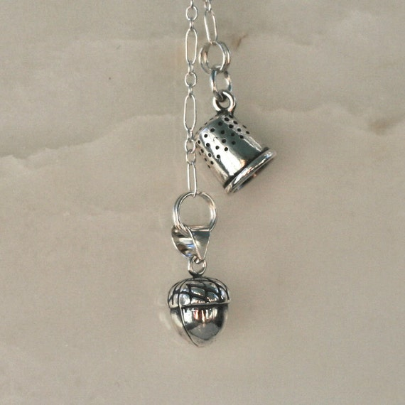 Peter Pan Kiss Necklace with Acorn and Thimble Charms in Solid Sterling Silver