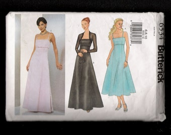 Butterick  6534 Evening Dress with High Waist Flared Skirt Sleeveless and Matching Shrug Size 6 8 10