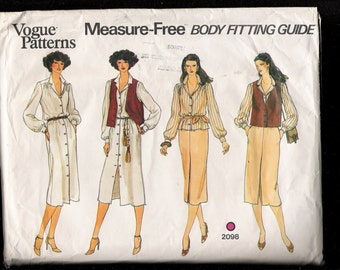 Vintage 1980s Vogue Pattern 2098 Shirt Dress Vest Blouse and Skirt with Measure Free Body Fitting Guide Size 12 UNCUT