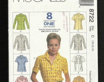 McCalls 8722 Button Front Shirt Blouse with or with Pockets or Epaulets Long or Short Sleeves Sizes 10 12 14 UNCUT