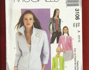 McCalls  3106  Short Waisted Zipper Front Jacket SIZES 6 - 10 UNCUT