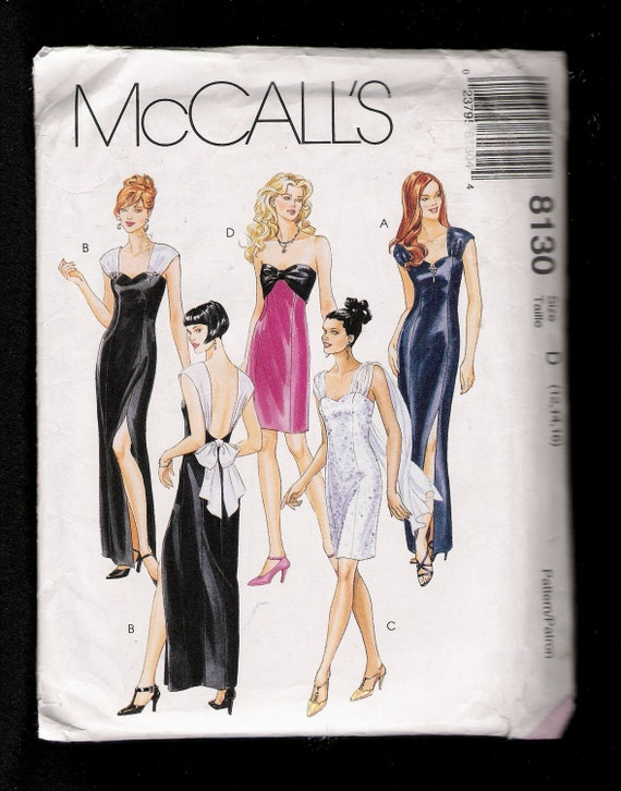 McCalls 8130 Evening or Cocktail Dress with Princess Seams Beautiful Heart Shaped Neckline and Shoulder Drapes  UNCUT Sizes 12-14-16