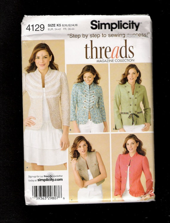 Simplicity Pattern 4129 Princess Seam Jacket and Vest  with Sleeve and Trim Options  Sizes 8 to 16 UNCUT
