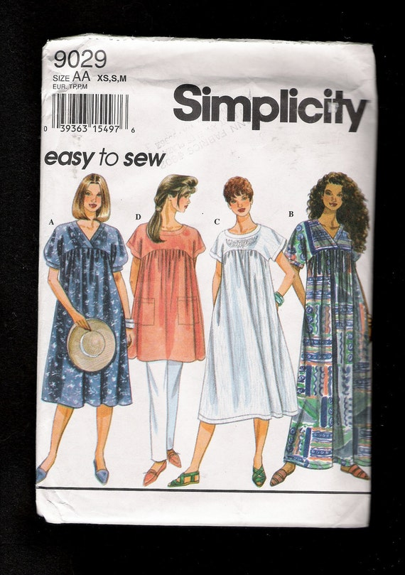 Simplicity Pattern 9092 Dress Smock or Tunic with Empire Waist Short Kimono Sleeves XS S M UNCUT