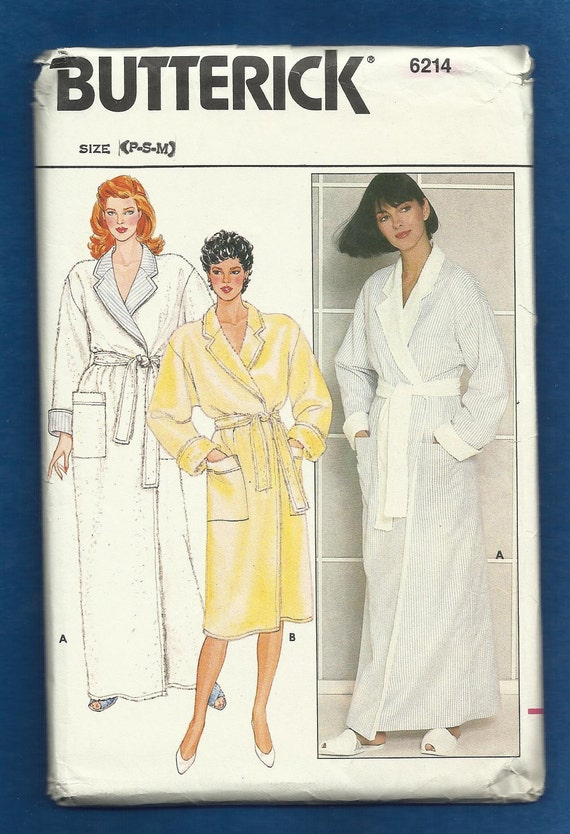 Vintage 1980s Butterick 6214 Reversible Bathrobe  with Notched Collar  UNCUT Sizes P S M