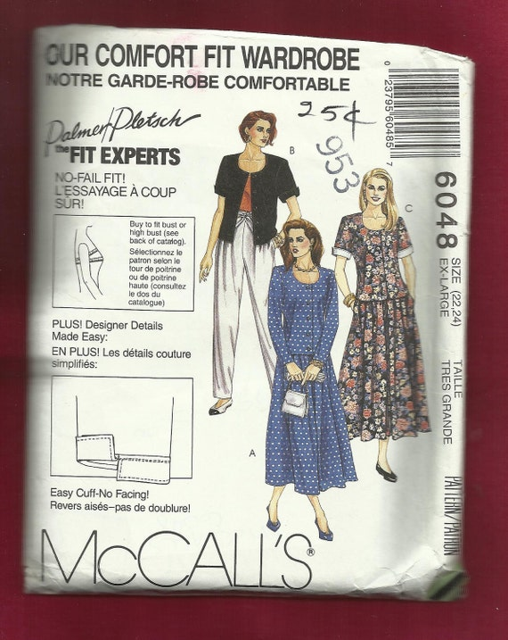 McCalls Pattern 6048 Scoop Neck Jacket with  Pleated Skirt and Pants Size 22-24 UNCUT