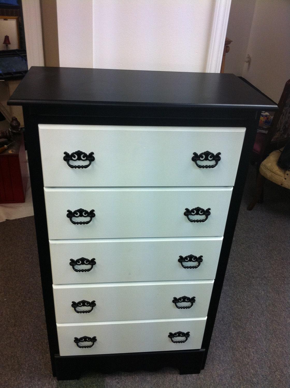 black and white hand painted dresser. Black Bedroom Furniture Sets. Home Design Ideas