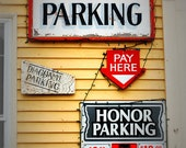 Kennebunk, Kennebunkport Center, Maine, New England, Honor System Parking, Yellow, Red, White, Photograph, Home Decor