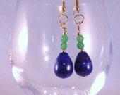 Lapis Lazuli and natural emerald earrings
