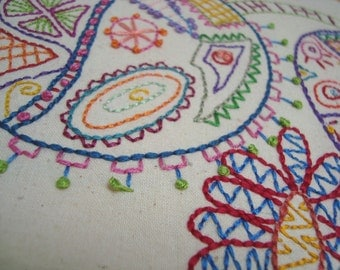 Surreal Flowers No 1.  Hand Embroidery Pattern by PDF