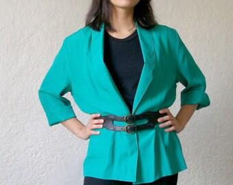 1980s Electric Green Blazer Size S-M