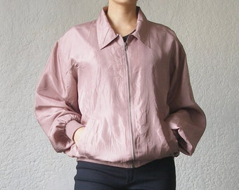 1980s Dusty Rose Silk Zip Up Jacket Size M-L