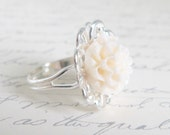 On Sale - Flower Ring - a white chrysanthemum on an adjustable silver lace ring