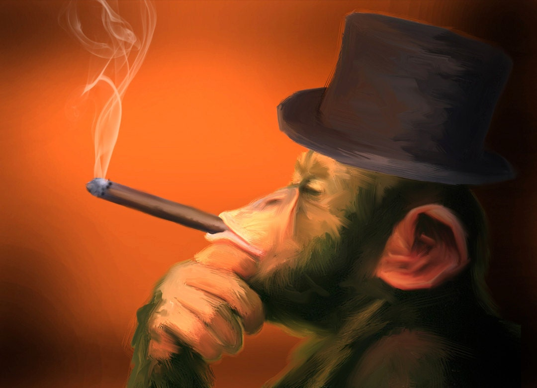 Smoking Monkey Art by James Cattlett. Cigar Monkey
