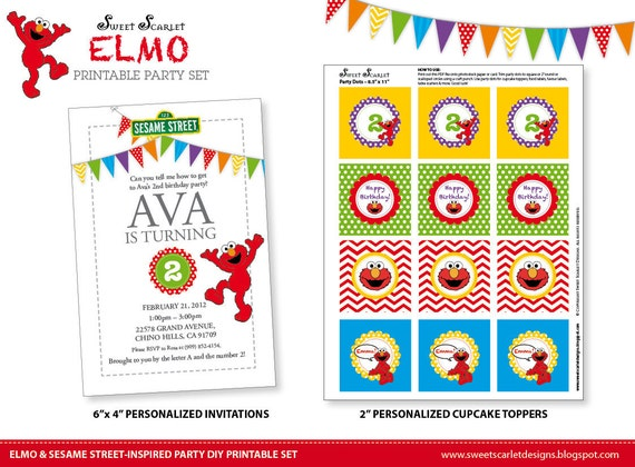 ELMO Birthday Party Printable Set  - Sesame Street-inspired Invitations, Cupcake Toppers, Party Banner & more
