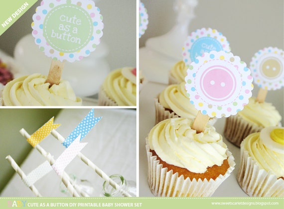 BABY SHOWER Cute As a Button Printable Set - Gender Neutral - Cupcake Toppers, Bunting, Favor Tags, Buffet Labels & more