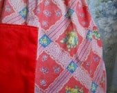 1950s Vintage  Half Apron Red Cottage chic