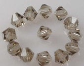 100pcs Smoke Crystal Glass Faceted Bicone Beads 4mm