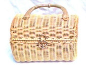 Vintage Mid Century Straw Rattan Purse by Marcus Brothers - price reduction