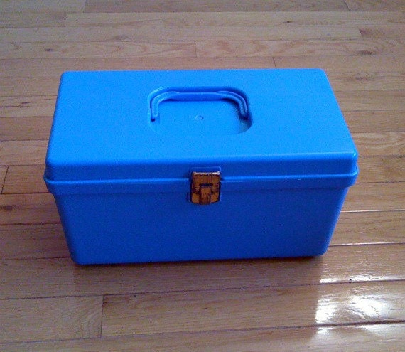 Vintage Blue Plastic Sewing Box by Wilhold