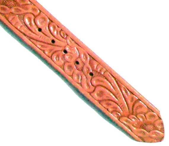 Vintage Tooled Leather Belt Brown