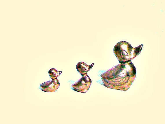 RESERVED - Please do not buy unless you are the individual for whom this is reserved.  Vintage Brass Ducks - set of three