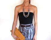 High waist suspenders pencil skirt