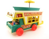 Fisher Price Camper Set with Jeep, Camper, Boat, Little People Play Family and Furniture