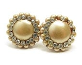 Rhinestone & Pearl Earrings Champagne Faux Pearls, Clip Earrings