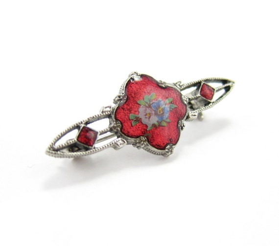 Vintage Cloisonne Bar Brooch Red - Flowers on Enameled Victorian-Style Pin