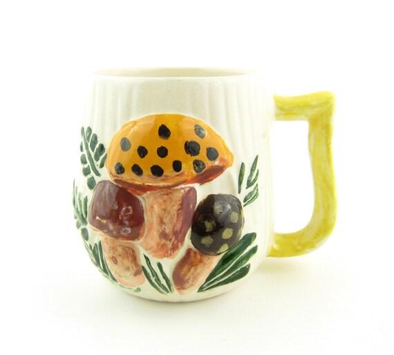 Merry Mushrooms Mug Vintage Handpainted Ceramic Cup with Orange Brown Mushrooms, Ferns