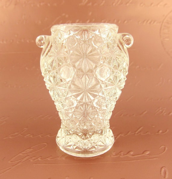 Vintage Toothpick Holder or Small Bud Vase - Clear Pressed Glass with Faux Crystal Texture