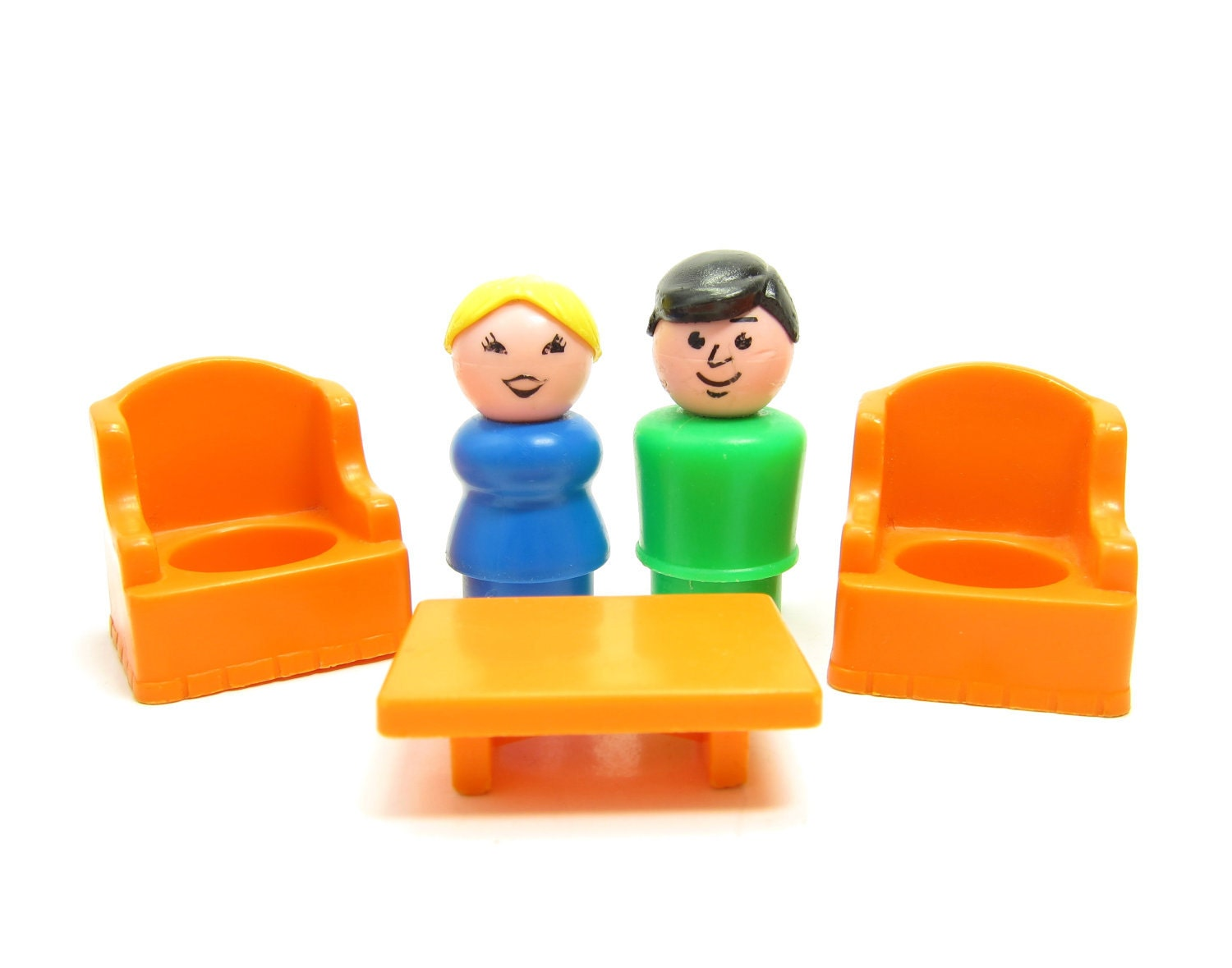 Fisher Price Little People Man Woman Table Chairs Vintage