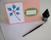 Happy Birthday Cards Set of 4 Hand Painted Blue and Green Flower Watercolor and Ink  Blank Inside