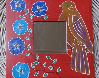 "Painted Mirror Bird and Flowers - Square 10 1/4"" x 10 1/4"" (26x26cm)"