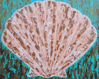 Seashell Original Art on Canvas 20x20
