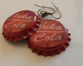 Red Nuka Cola Bottle Cap Earrings
