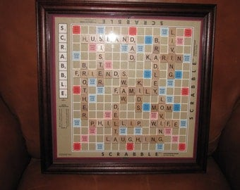 Personalized Scrabble Board Wall Art Framed Picture Home Wedding Father's Day